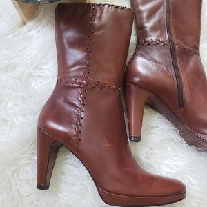 Antonio Melani Leather Brown Stitched Heeled Boots